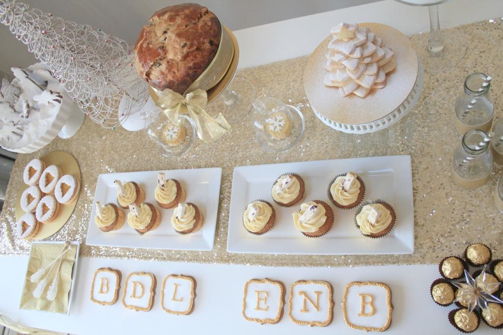 Golden dessert table