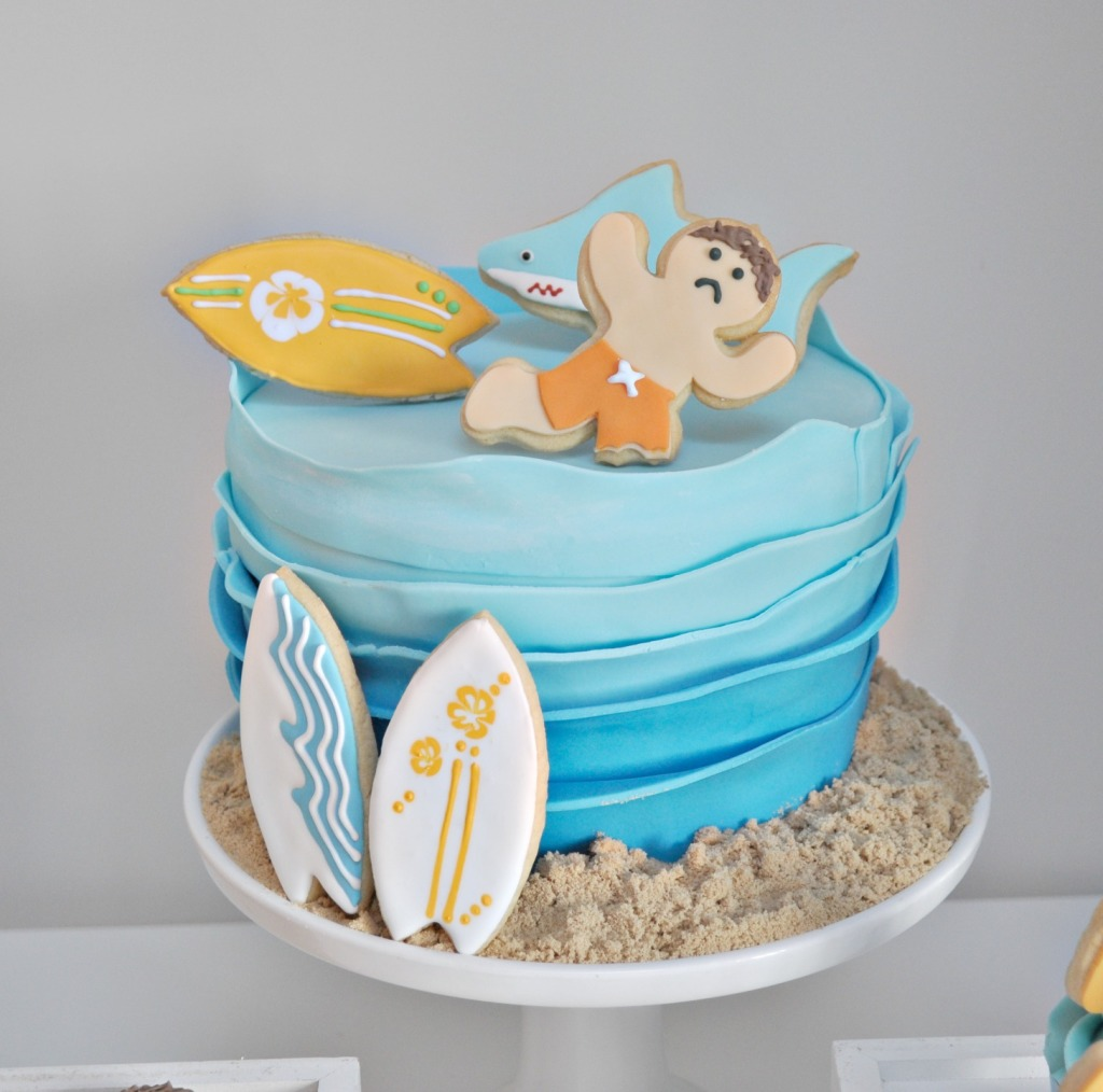 surfing cake beach
