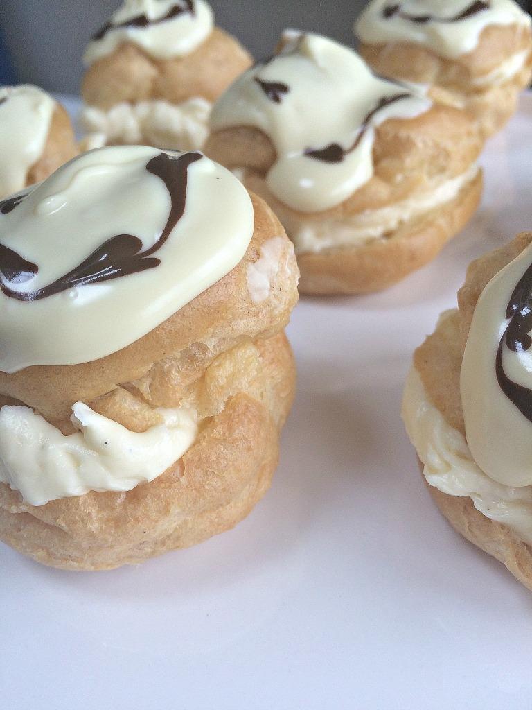white chocolate choux buns