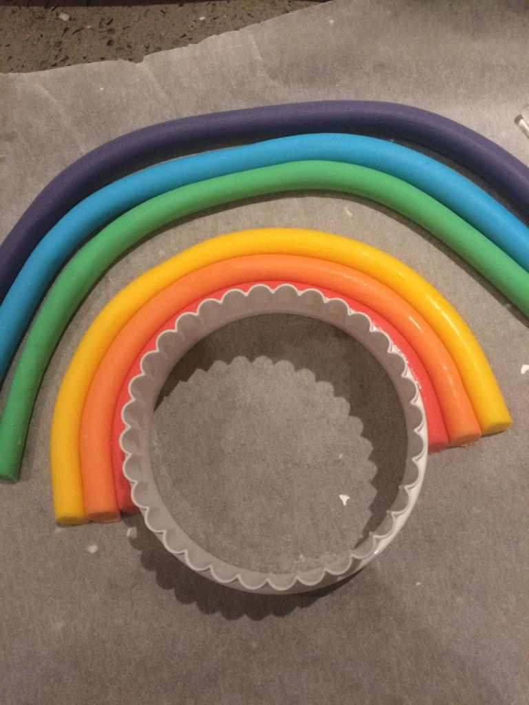 rainbow fondant topper