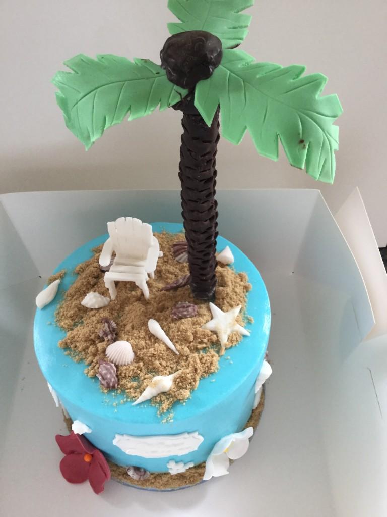 palm on a cake
